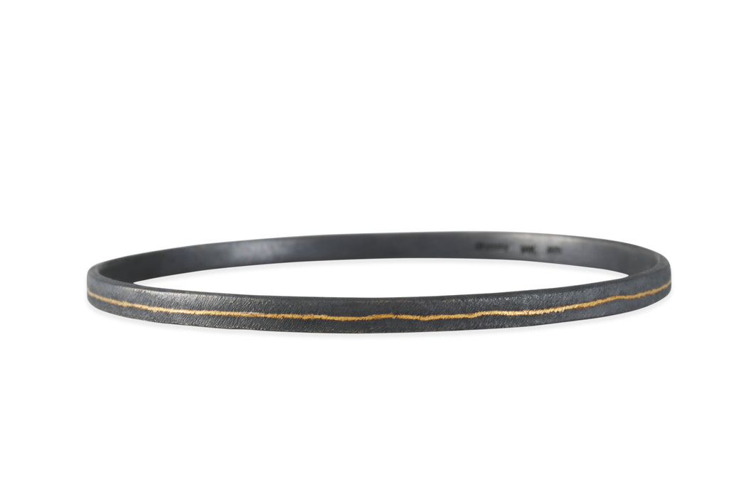 Shaesby - Silver Bangle With 14k Gold Inlaid Stripe