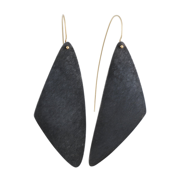 Shaesby - Elongated Oxidized Triangle Earrings