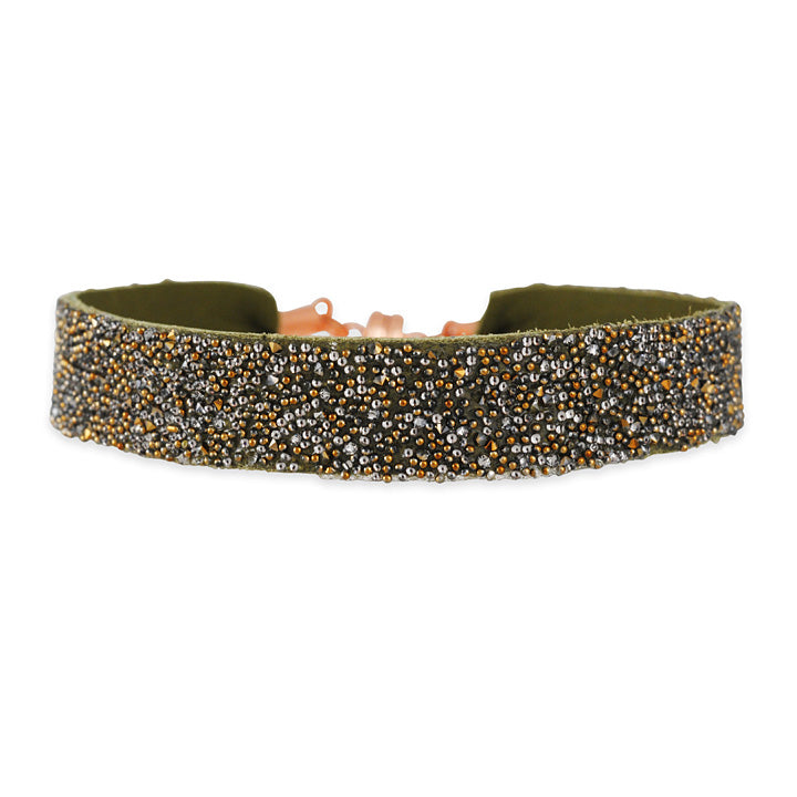 SHE.RISE - Olive Green Leather Cuff Bracelet with Swarovski Crystals
