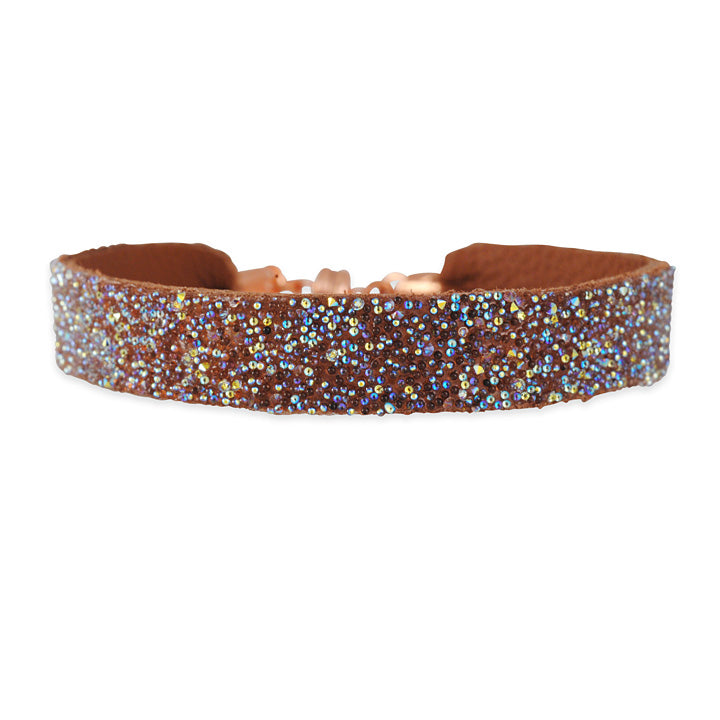SHE.RISE - Saddle Brown Leather Cuff Bracelet with Swarovski Crystals