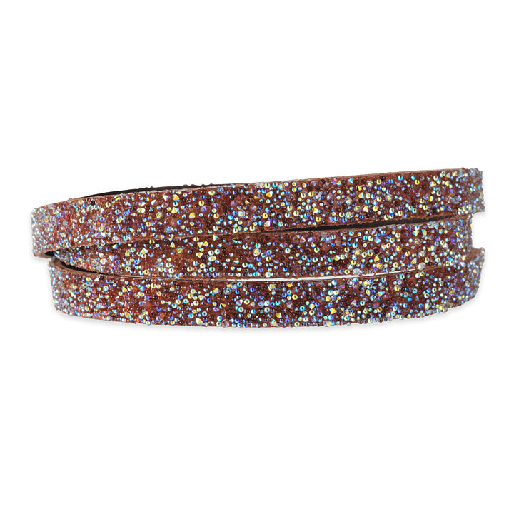 SHE.RISE - Thin Triple Wrap Bracelet in Chocolate Leather with Swarovski Crystals