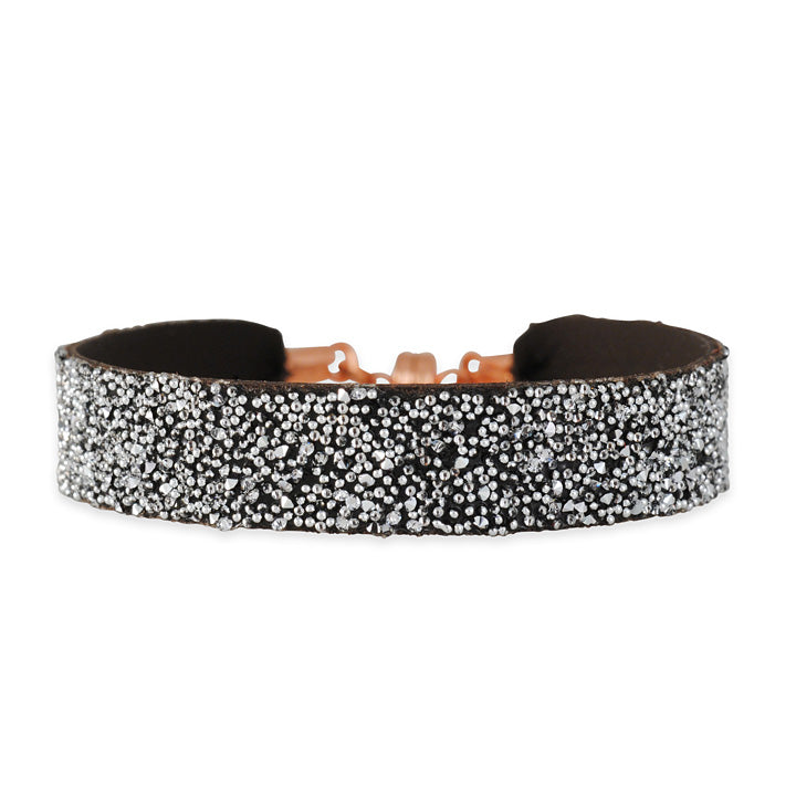 SHE.RISE - Brown Leather Cuff Bracelet with Silvery Swarovski Crystals
