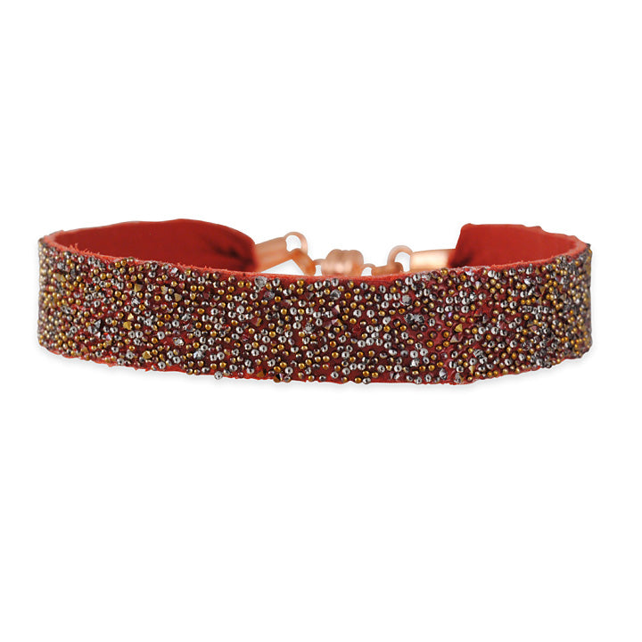 SHE.RISE - Red Leather Bracelet with Swarovski Crystals