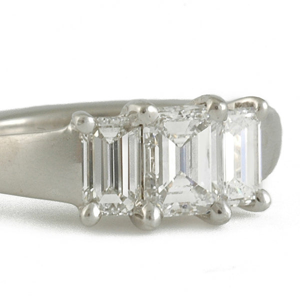 SHOLDT DESIGN- Emerald Cut Diamond Tio Engagement Ring
