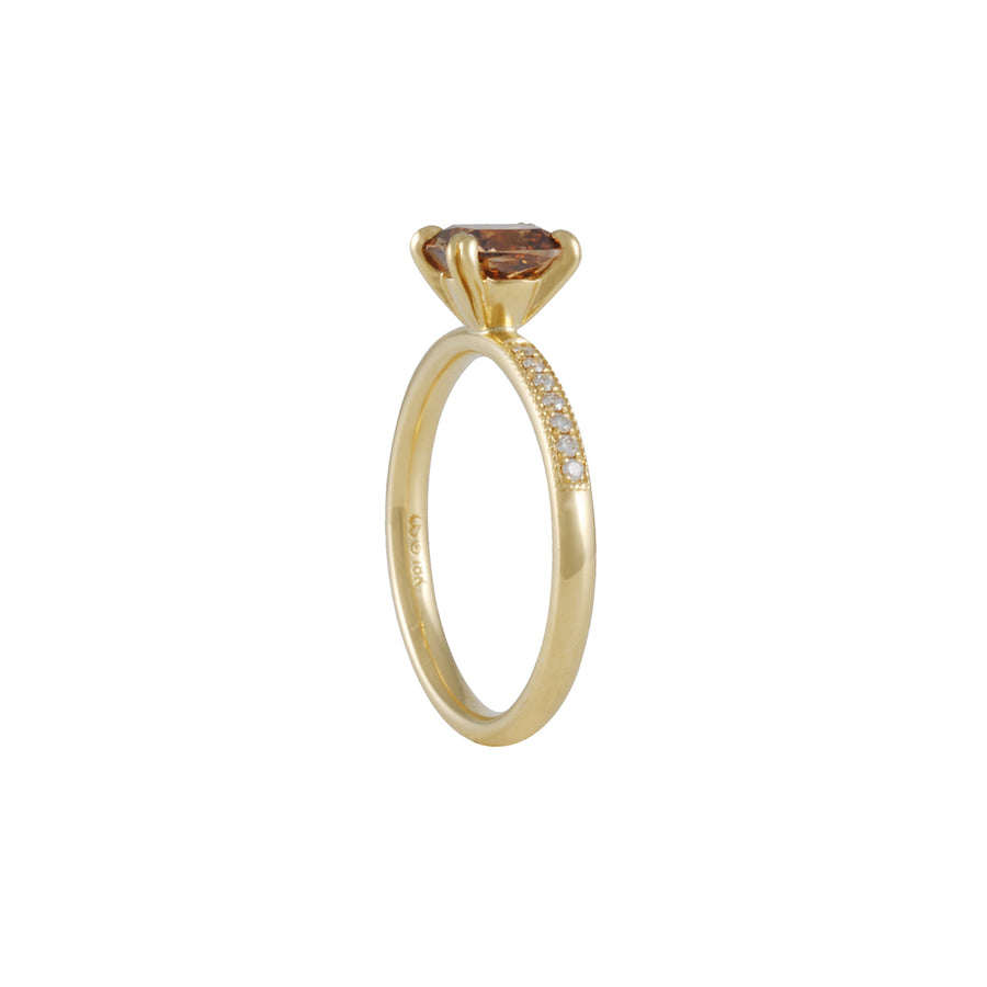 SALE - Cognac Diamond Four Prong Solitaire