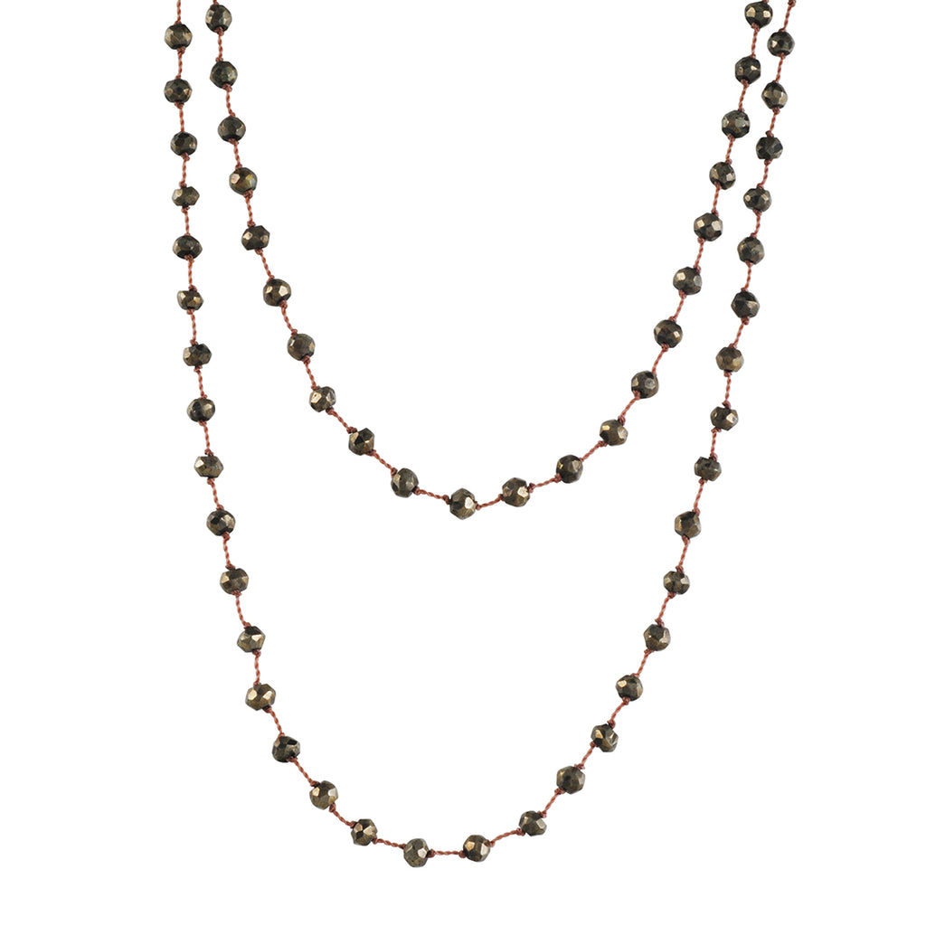 CHRISTINA STANKARD - Long Beaded Necklace in Pyrite