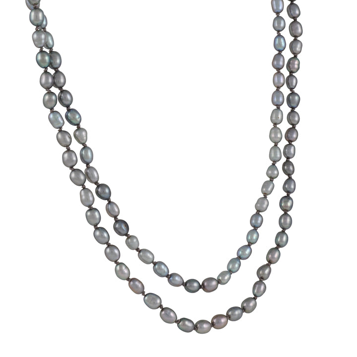CHRISTINA STANKARD - Long Grey Pearl Necklace