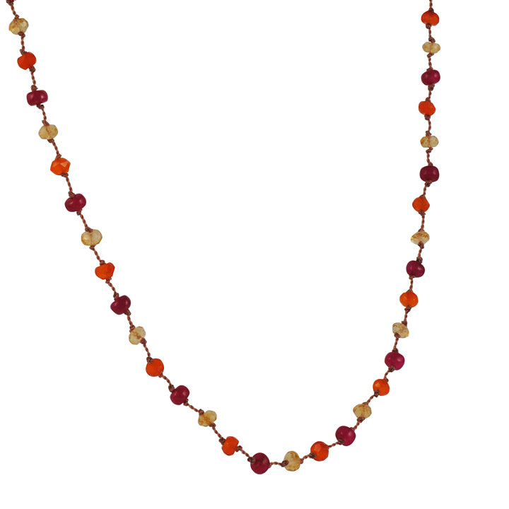 CHRISTINA STANKARD - Ruby and Carnelian Beaded Necklace