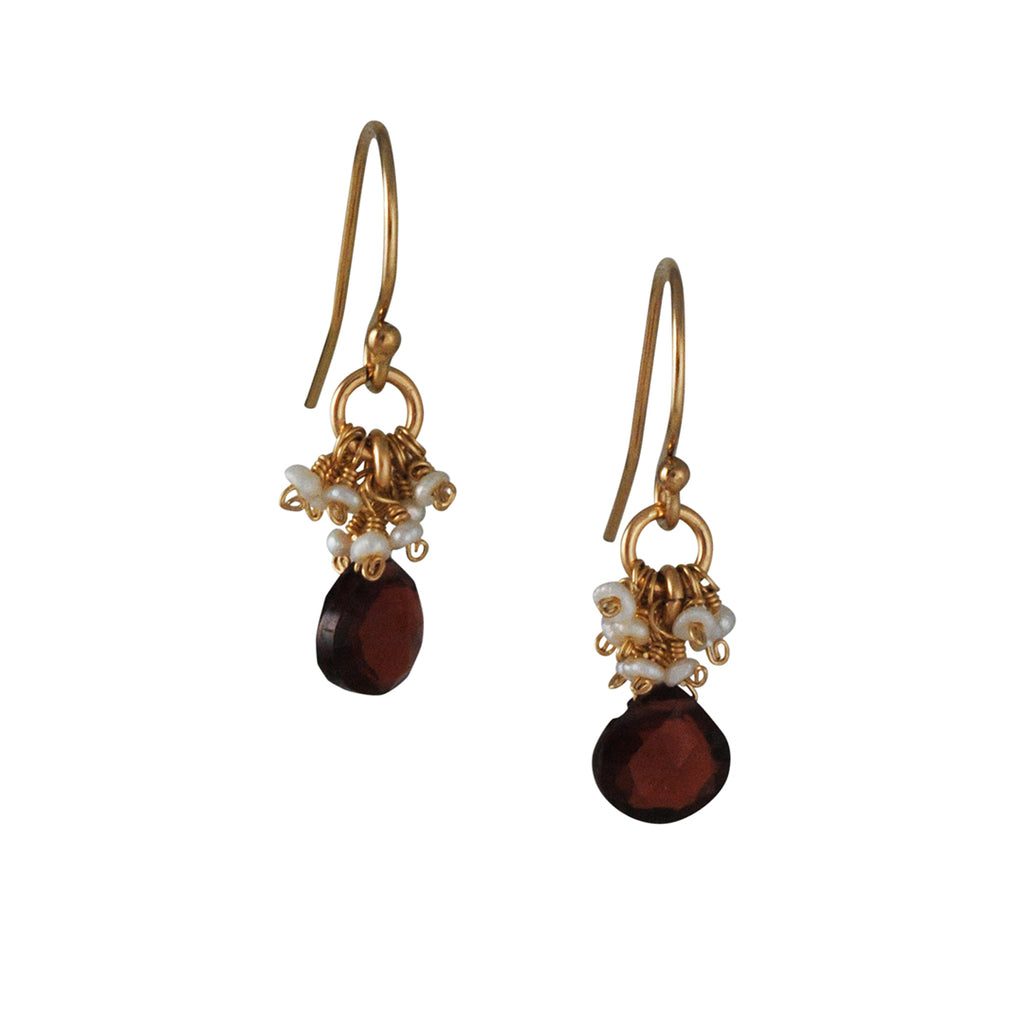 CHRISTINA STANKARD - Garnet and Pearl Cluster Earrings