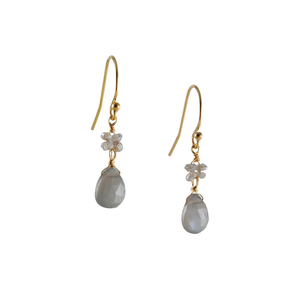 CHRISTINA STANKARD - Blossom Grey Moonstone Earrings