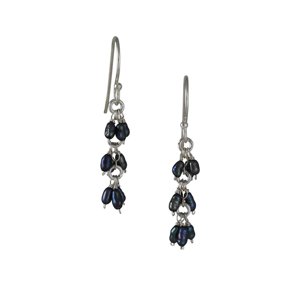 CHRISTINA STANKARD - Triple Cluster of Dark Grey Pearl Earrings