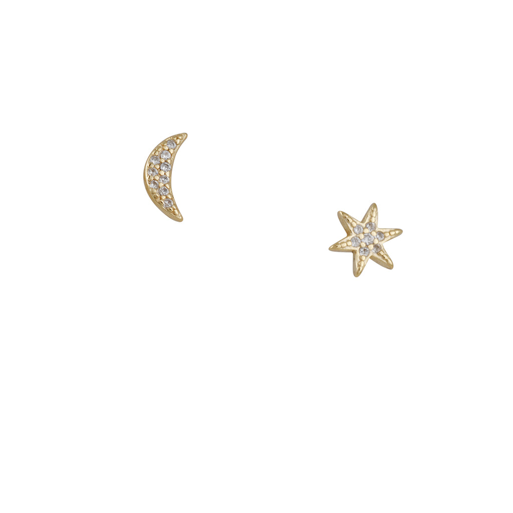 Gilded By Katie Diamond - Star and Moon CZ Studs