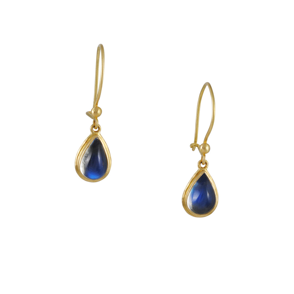Steven Battelle - Double Bezel Rainbow Moonstone Gold Earrings