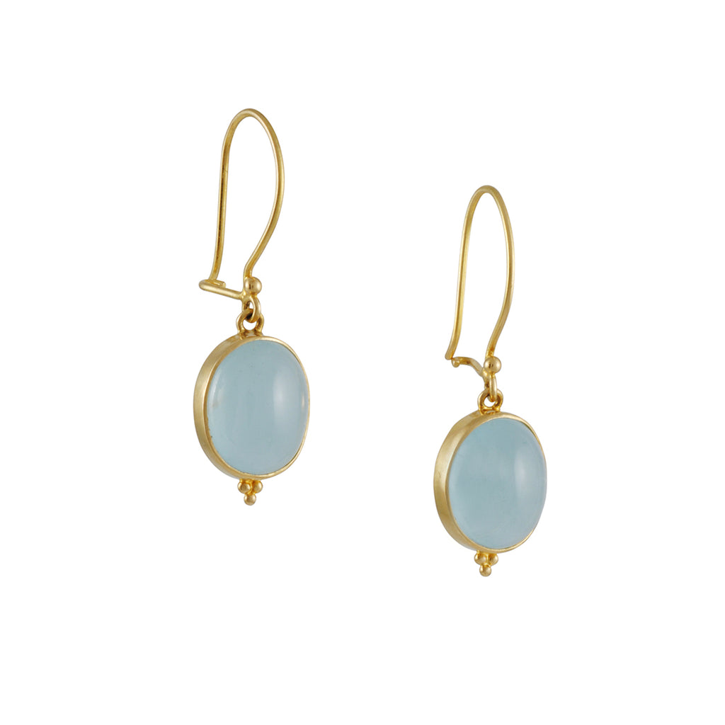 Steven Battelle - Oval Aquamarine Cabachon Gold Earrings