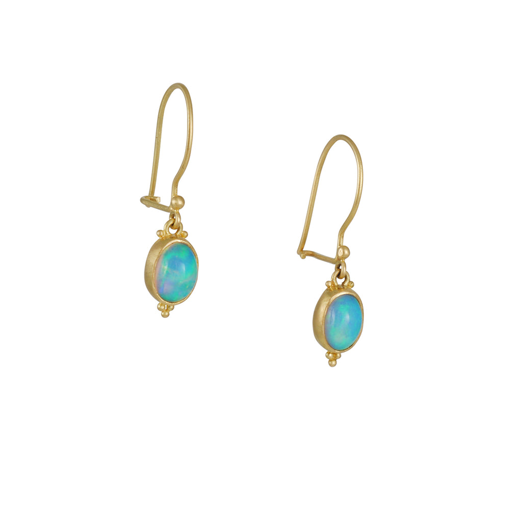 Steven Battelle - Tiny Oval Opal Bezeled Gold Earrings