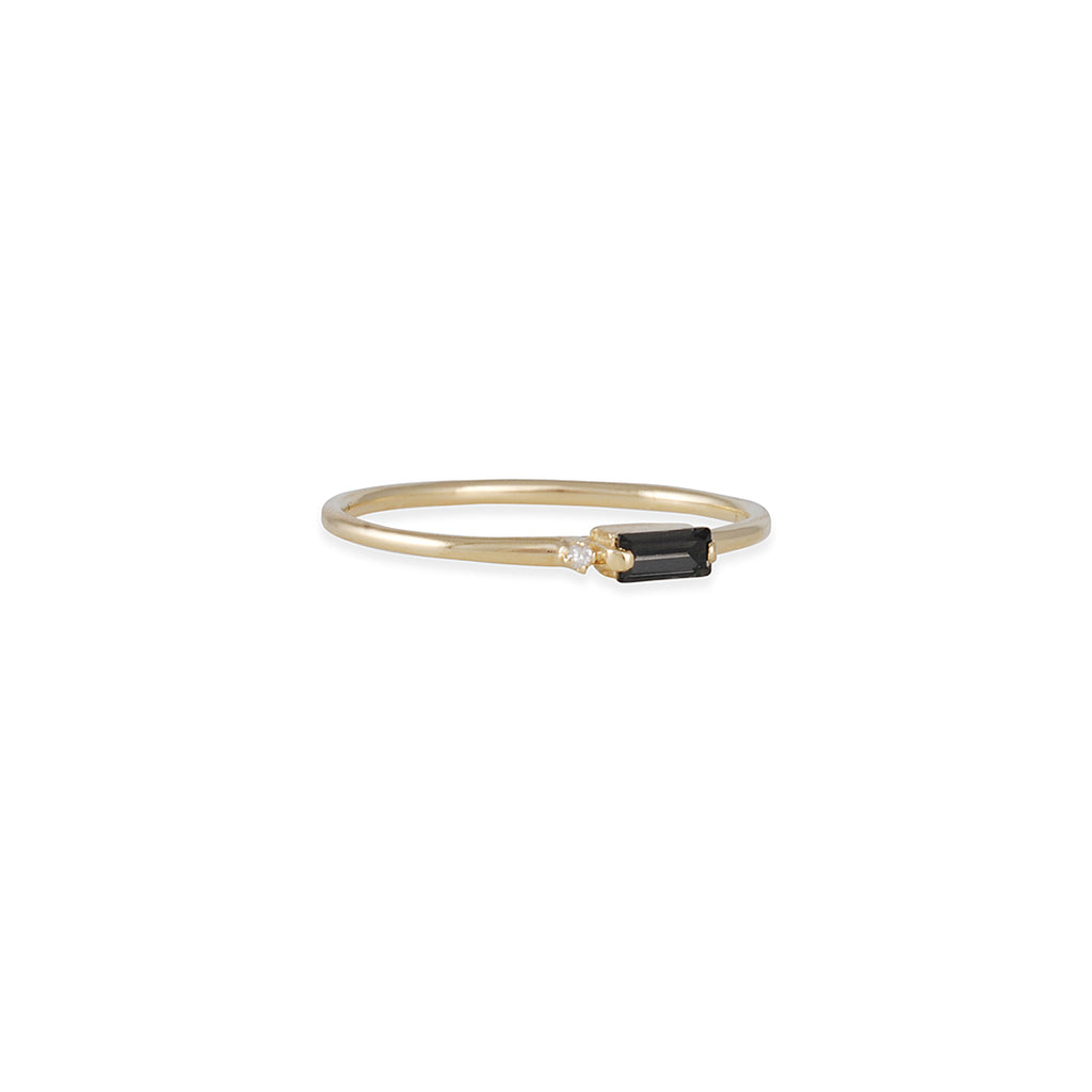SUZANNE KALAN - Baguette Ring in Yellow Gold with Black Quartz and Diamond