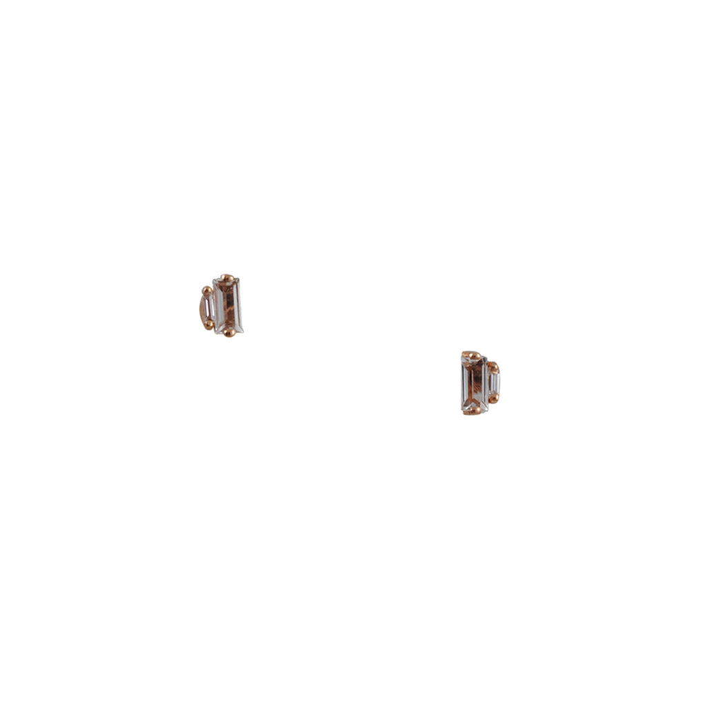 SUZANNE KALAN - Baguette Stud Earring with White Topaz in Rose Gold with Diamond