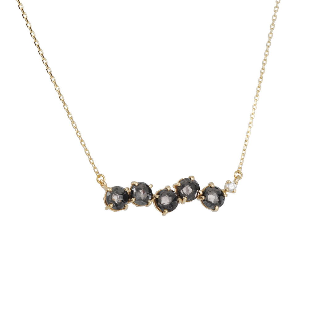 SUZANNE KALAN - Black Quartz Uneven Bar Necklace in Yellow Gold with Diamond