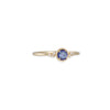 SUZANNE KALAN - Round Ring in Yellow Gold with English Blue Topaz and Diamond