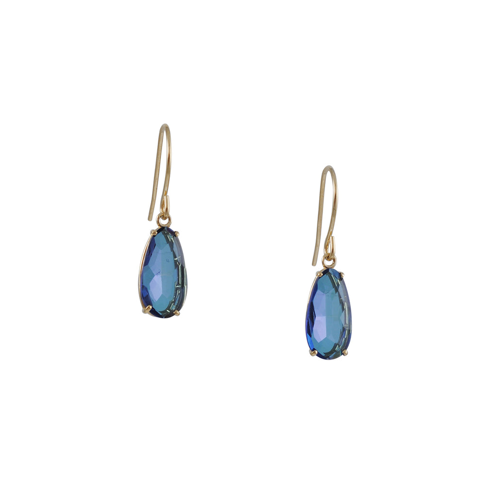SUZANNE KALAN - Simple Pear Earrings with Blue Topaz in Yellow Gold
