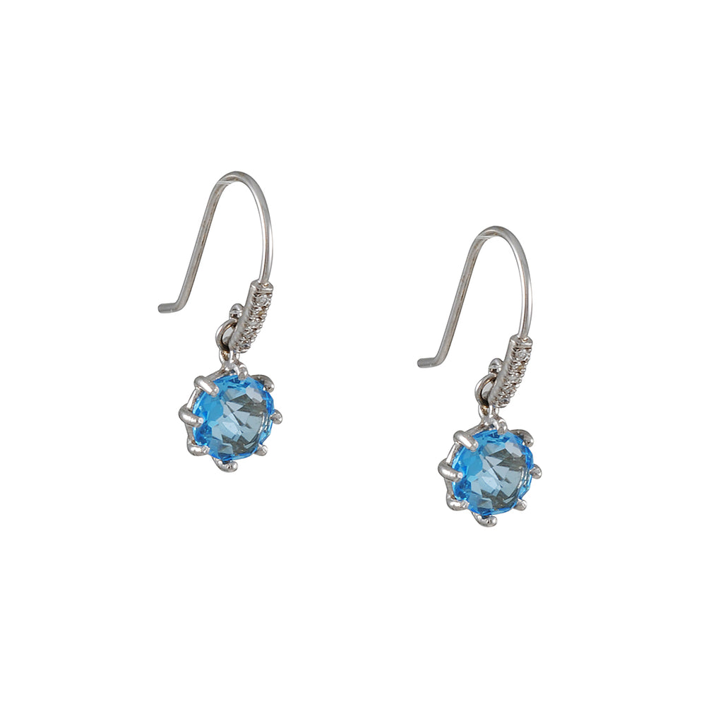 Suzanne Kalan - Blue Topaz Earrings with Micropave Hooks