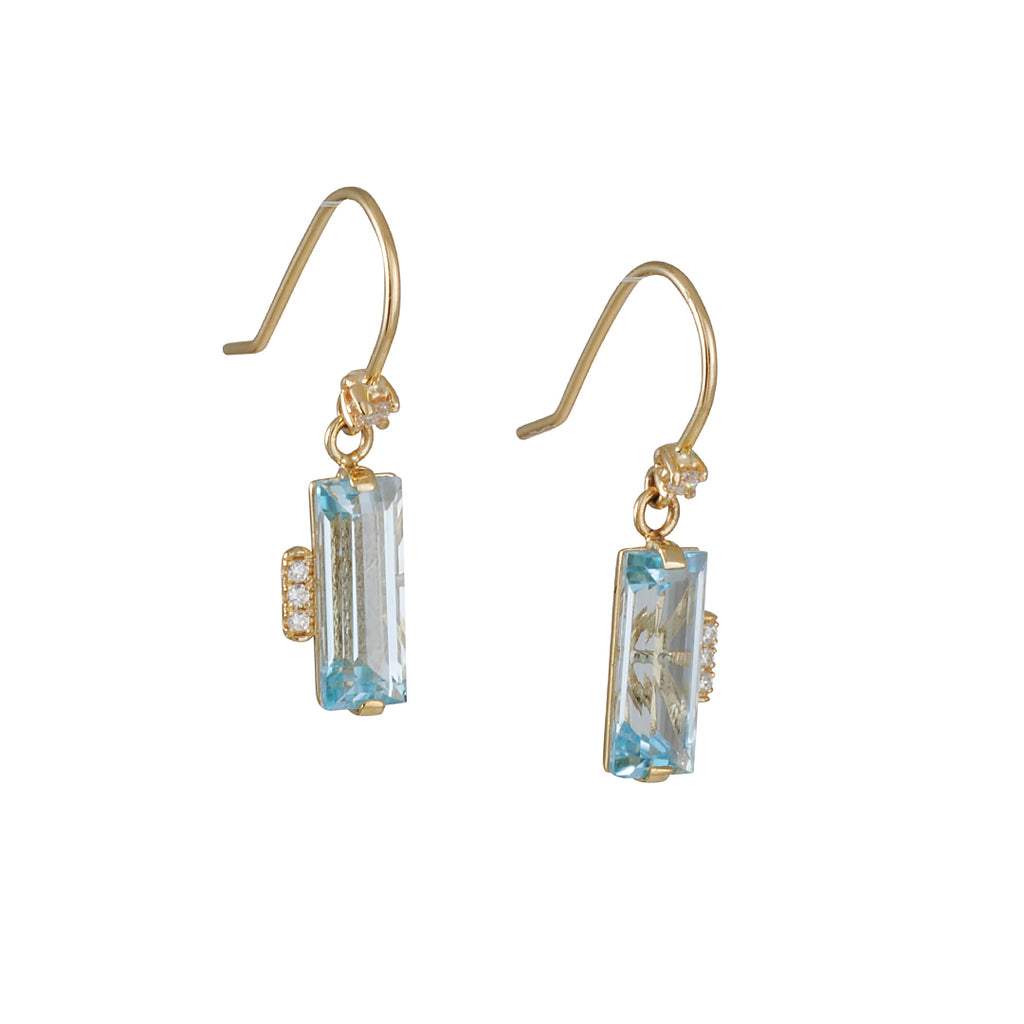 SUZANNE KALAN - Blue Topaz Baguette Drop Earrings in Yellow Gold