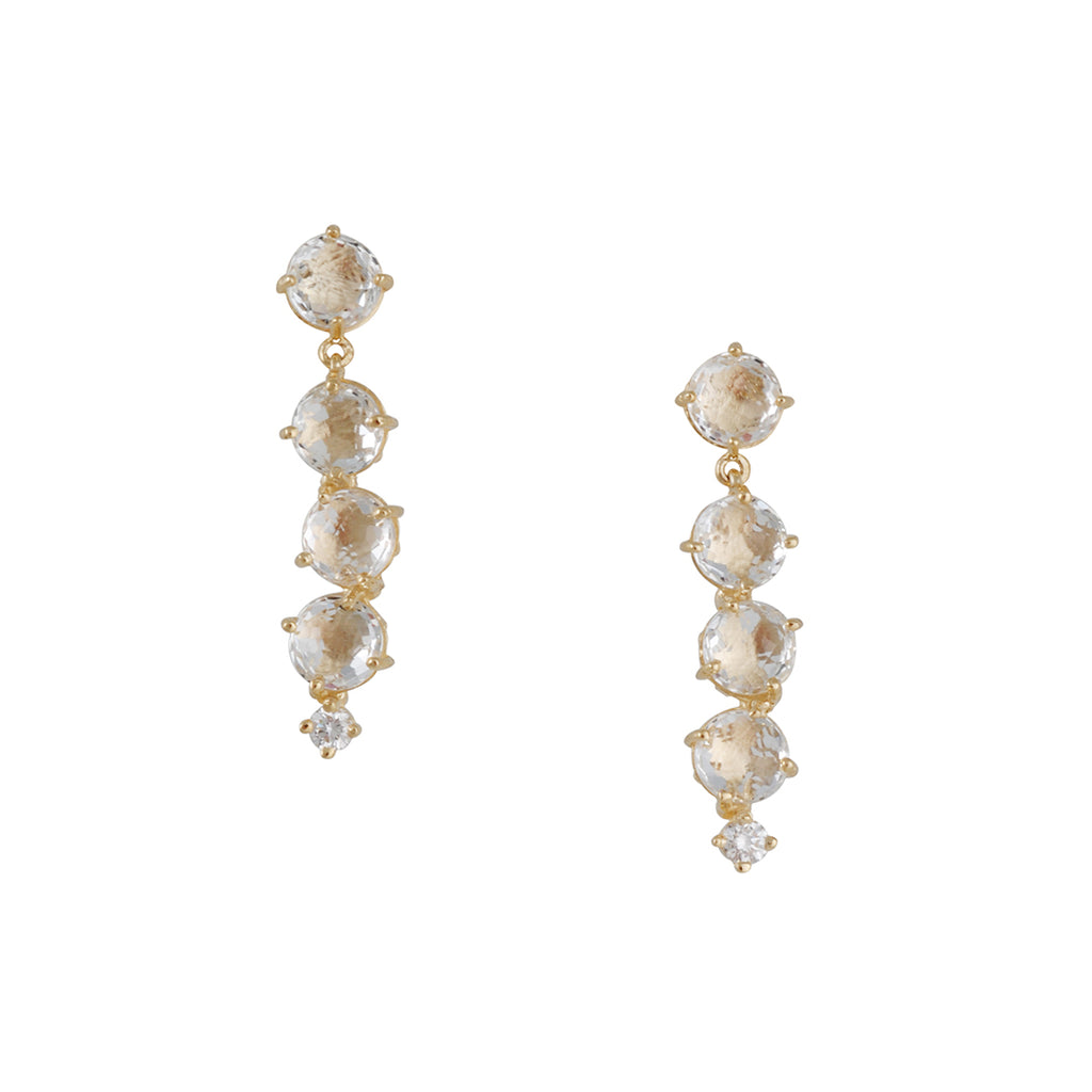 SUZANNE KALAN - Cascading White Topaz Drop-Post Earrings in Yellow Gold