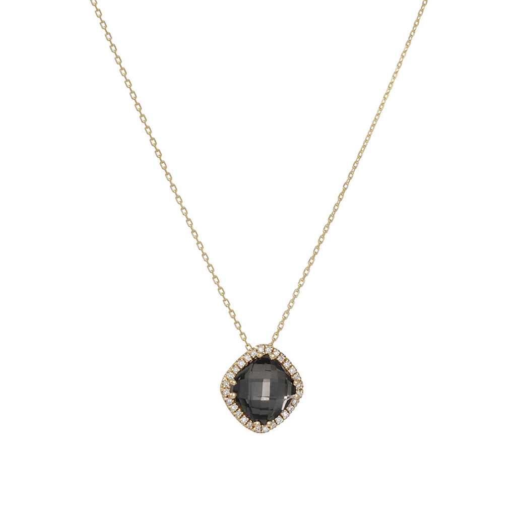 SUZANNE KALAN -Cushion Cut Black Quartz Necklace with Diamond Halo in 14k Yellow Gold