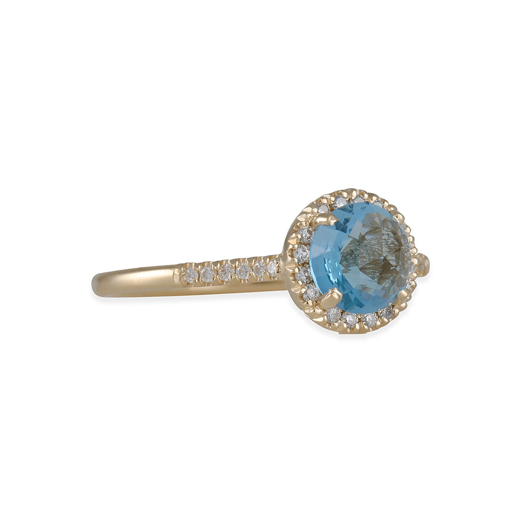 SUZANNE KALAN - Halo Set Swiss Blue Topaz Ring in Yellow Gold, Size 6.5