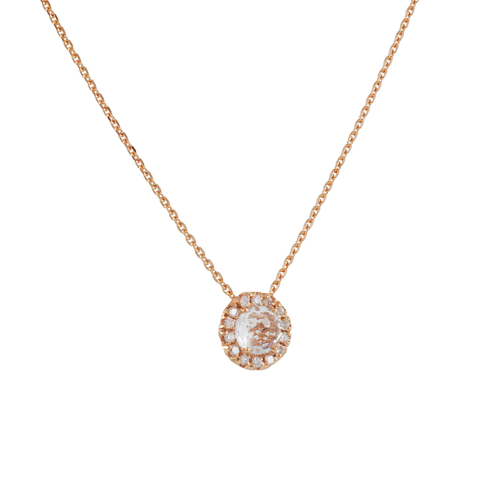 SUZANNE KALAN - Halo Set White Topaz Pendant Necklace in Rose Gold
