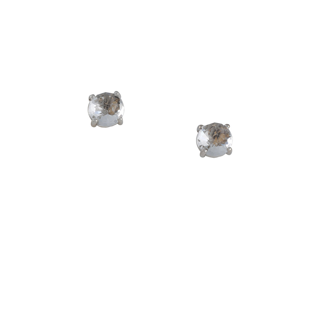 SUZANNE KALAN - Large Round White Topaz Post Earrings in 14K Gold