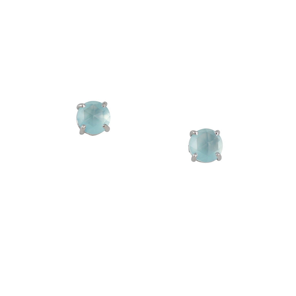 SUZANNE KALAN - Pale Blue Chalcedony Post Earrings in White Gold