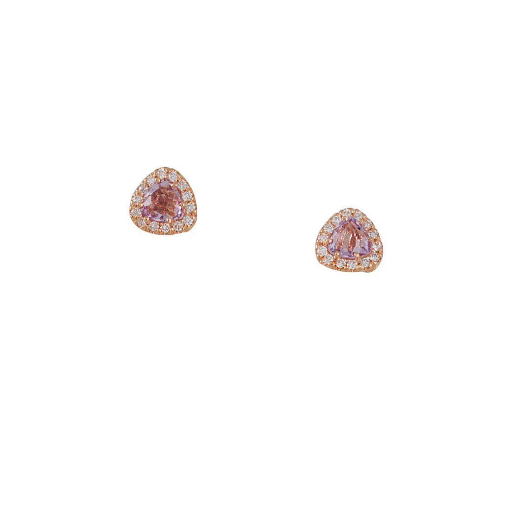 SUZANNE KALAN - Rose de France Trillion Post Earrings in Rose Gold