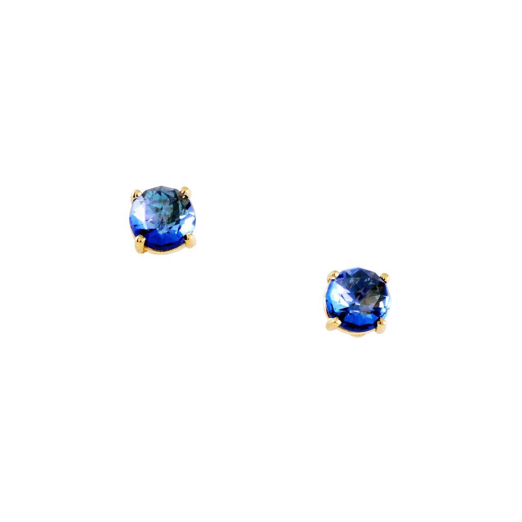 SUZANNE KALAN - Large Round Blue Topaz Post Earrings in 14K Gold