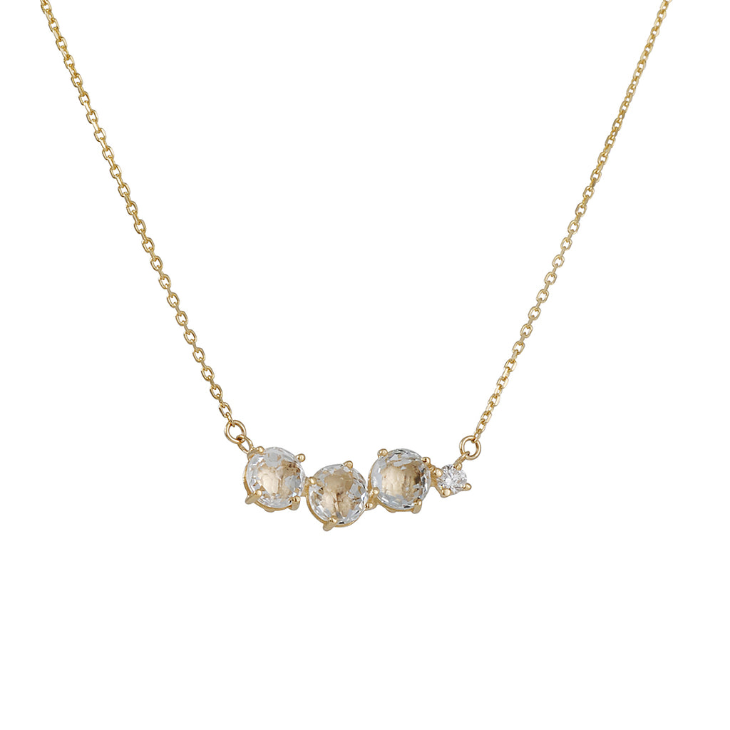 SUZANNE KALAN - White Topaz Cluster Necklace in Yellow Gold