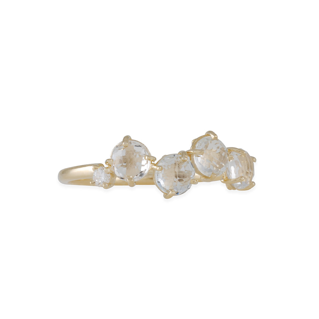 SUZANNE KALAN - White Topaz Cluster Ring in Yellow Gold