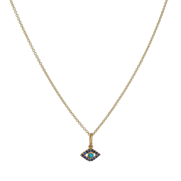 Sydney Evan - Evil Eye Turquoise and Sapphire Necklace