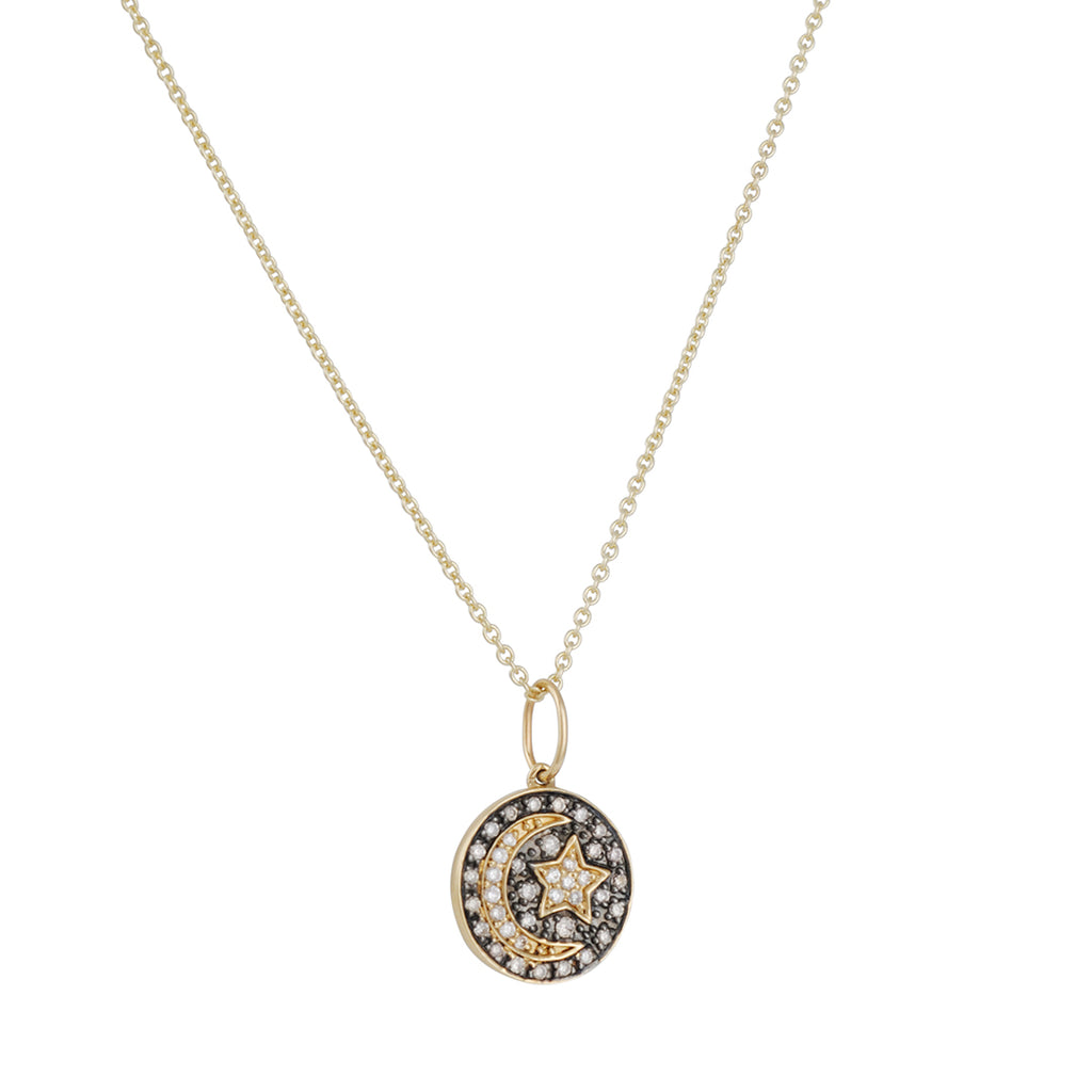Sydney Evan - Moon and Star Pave Diamond Necklace