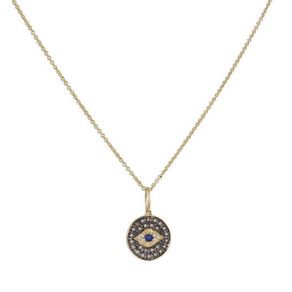 SYDNEY EVAN - Small Evil Eye Disc Necklace in 14K Yellow Gold