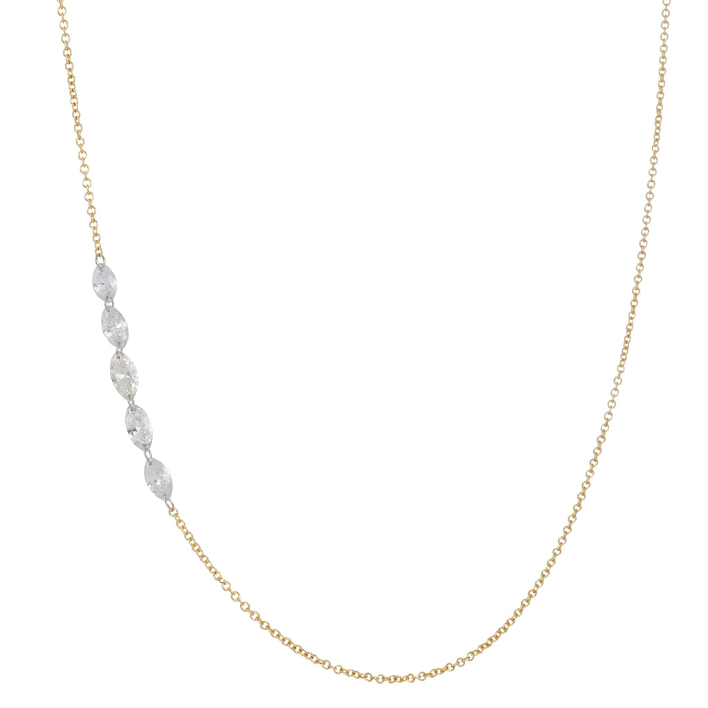 TODD POWNELL - Five Marquis Diamond Necklace, 18K Gold