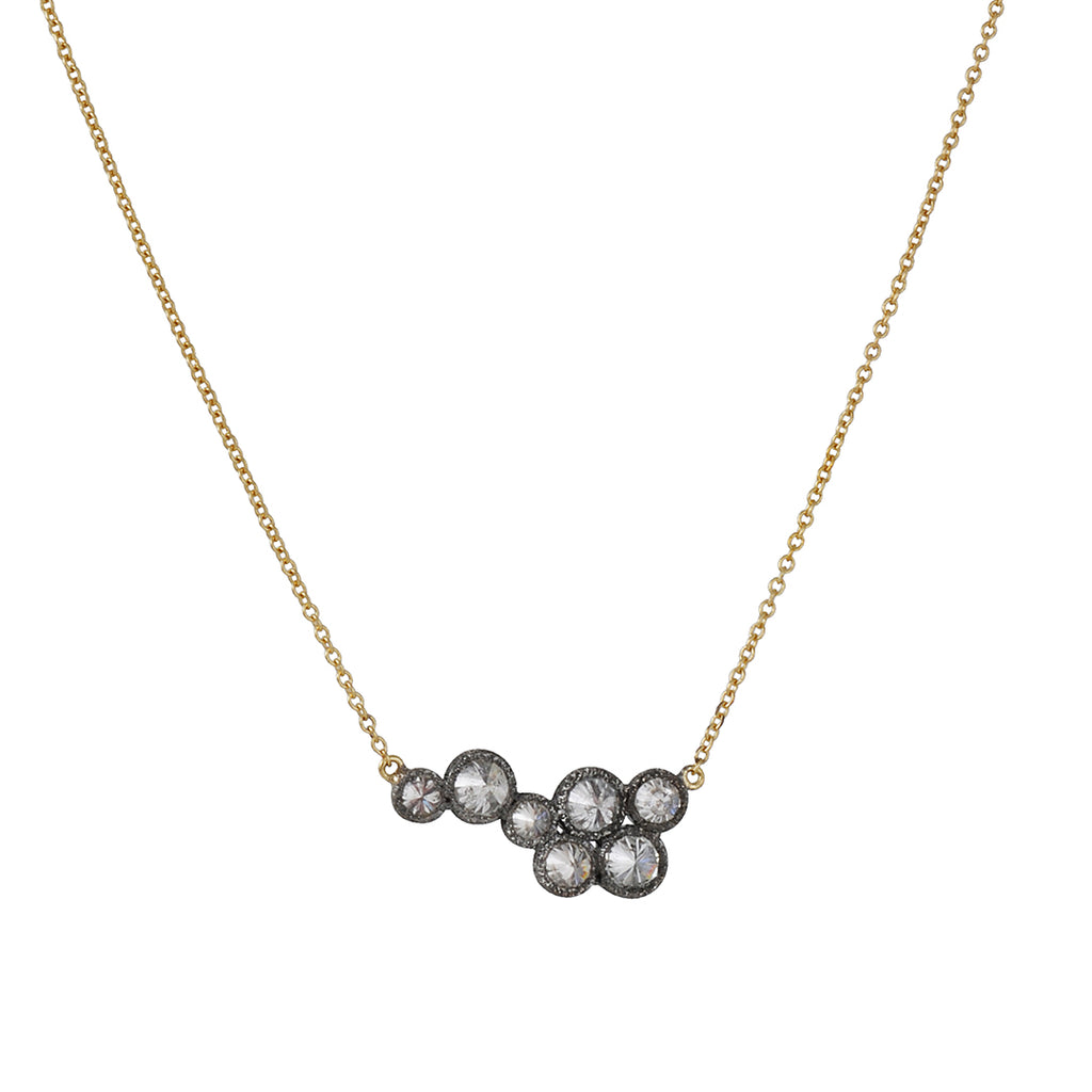 TAP by Todd Pownell - Cluster Necklace With Seven Inverted Diamonds on 18K Gold Chain
