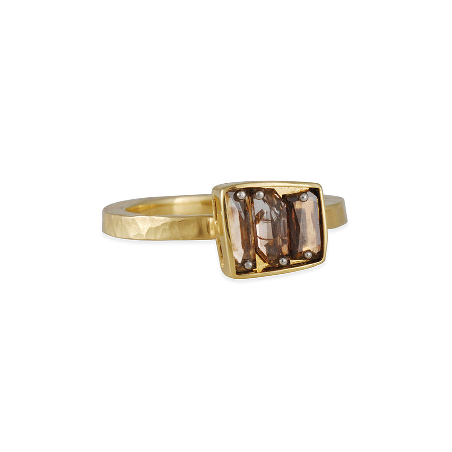TAP by Todd Pownell - One of a Kind Pin-Set Ring With Three Cognac Diamonds