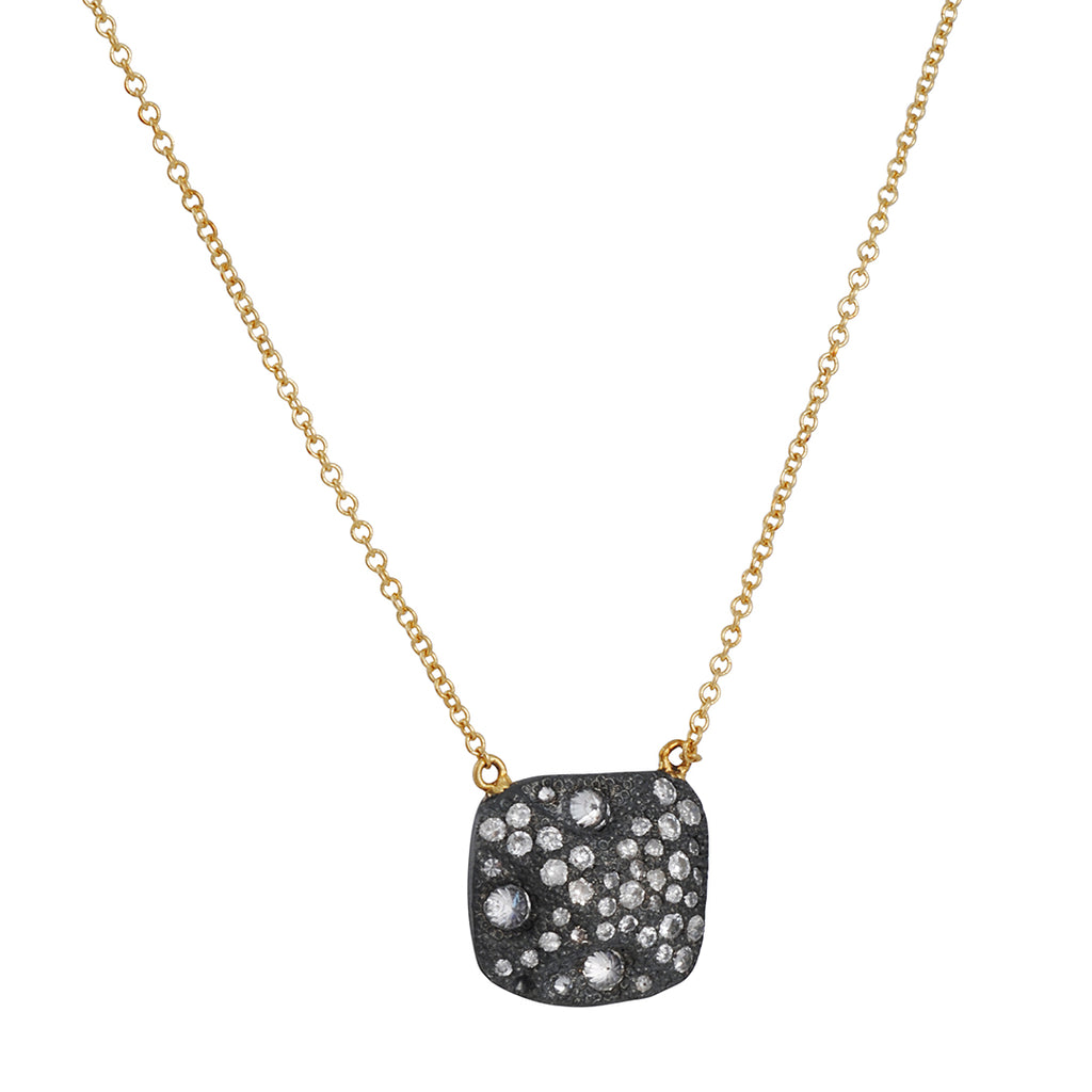 TAP BY TODD POWNELL - Square Multi Diamond Pendant in Oxidized Sterling and 18k Gold.