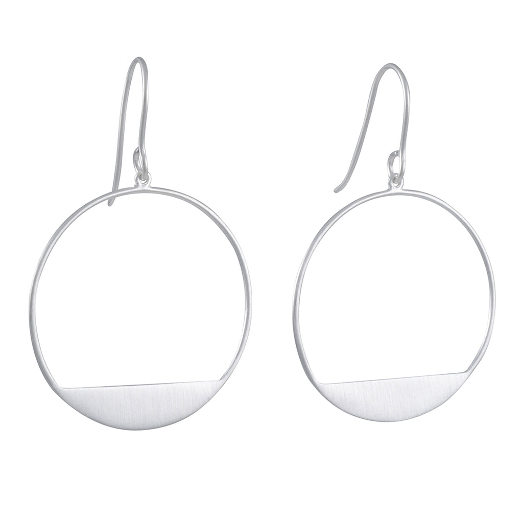 TASHI - Large Circle Bottom Drop Earrings in Sterling Silver