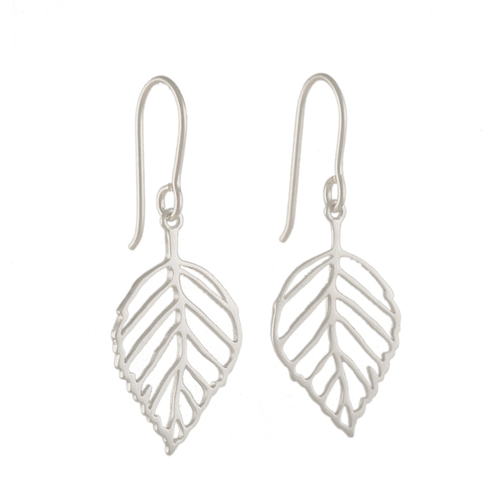 TASHI - Medium Leaf Earrings in Brushed Sterling Silver
