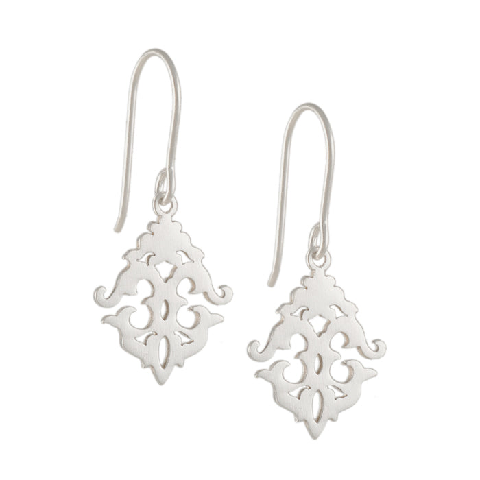 TASHI - Small Baroque Earrings in Brushed Sterling Silver