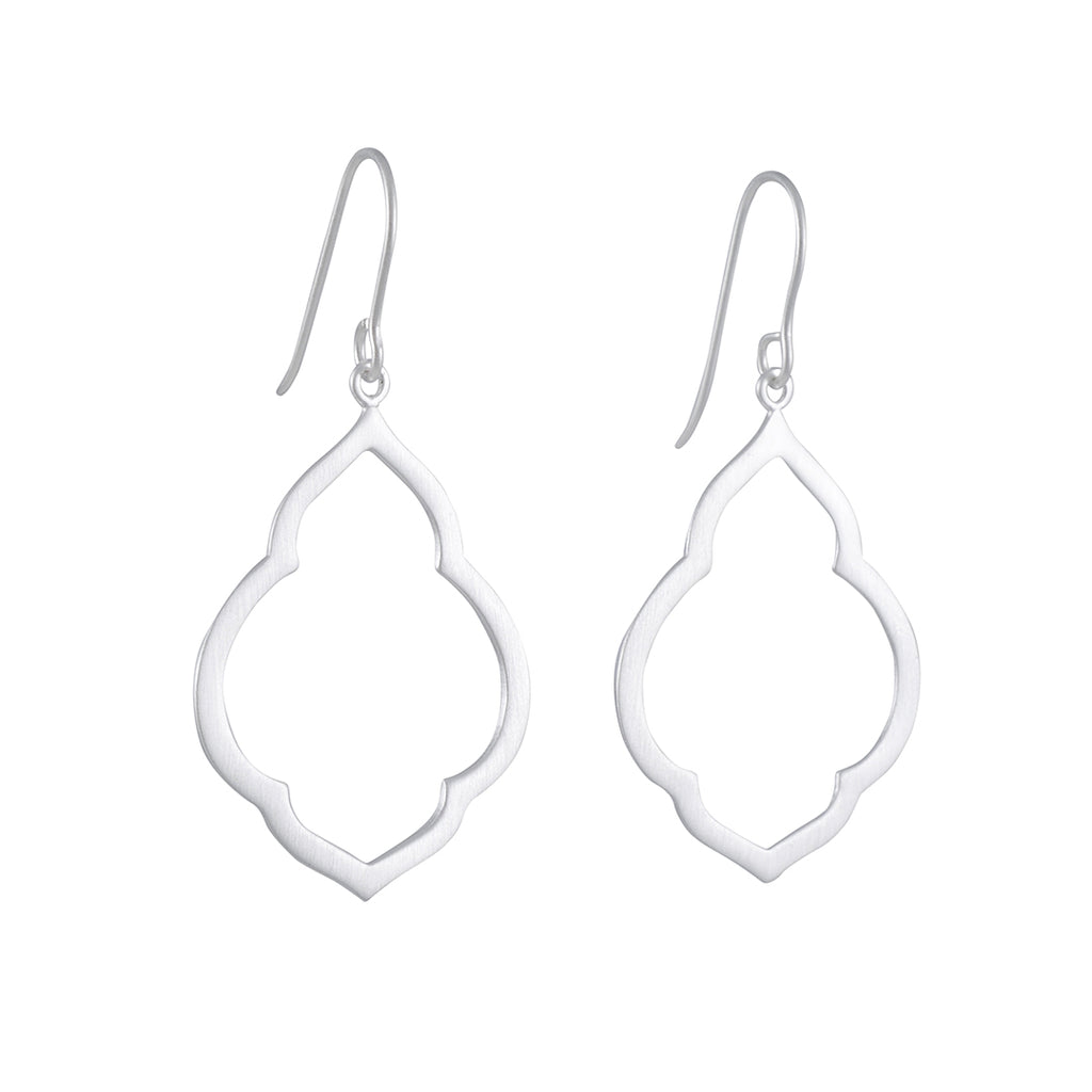 TASHI - Small Persian Drop Earring in Brushed Sterling Siver