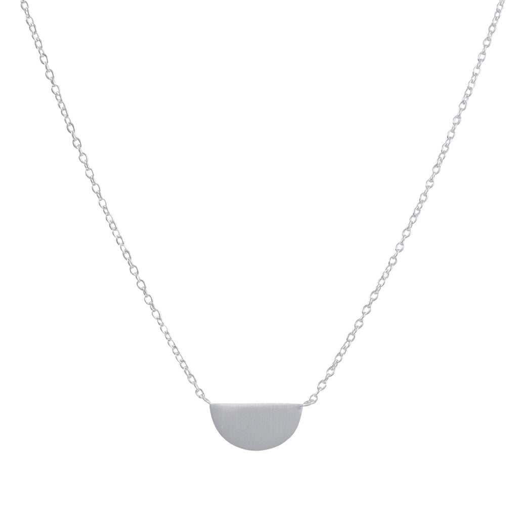 TASHI - Tiny Half Moon Pendant Necklace in Sterling Silver