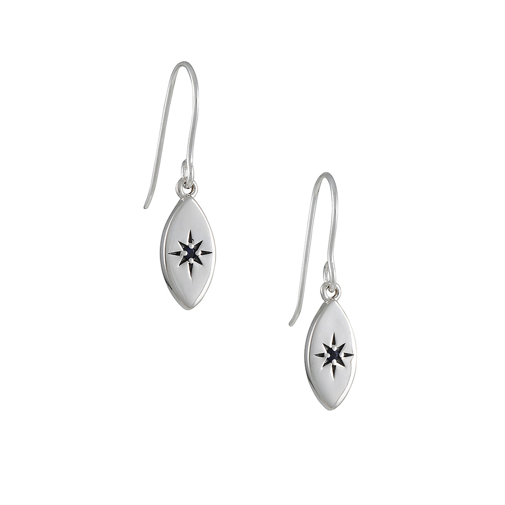 TASHI - Tiny Sapphire Star Earrings in Sterling Silver