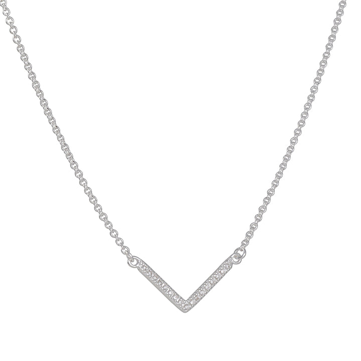 TASHI - Pave Chevron Necklace In Sterling Silver